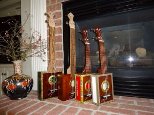 Front view of family of ukuleles