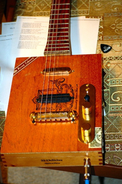6 string cigar box guitar bridge details for alex